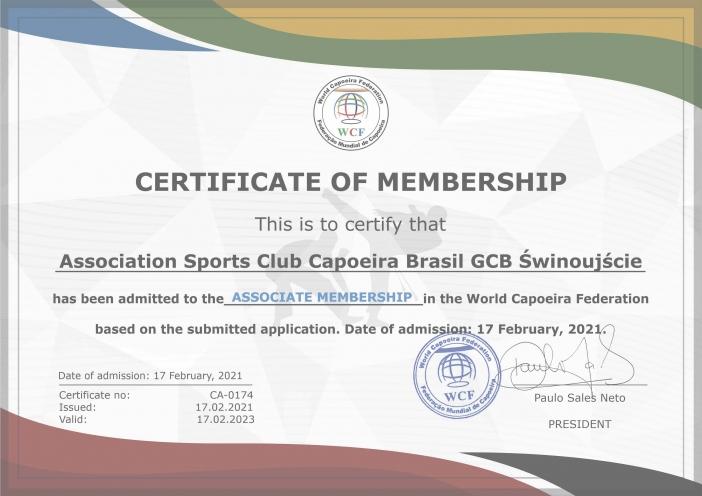 Association Sports Club Capoeira Brasil GCB Świnoujście has officially joined the World Capoeira Federation today, with